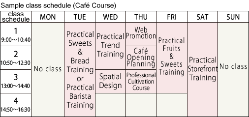 Sample class schedule (Café Course)