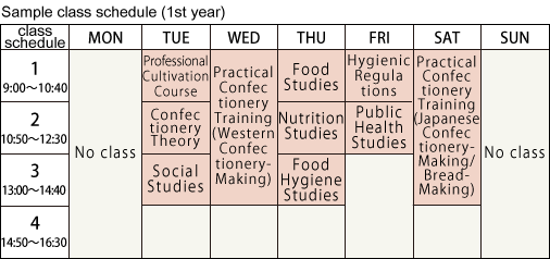 Sample class schedule (1st year)