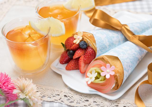 春のオシャピクニックで大人気のブーケクレープ&セパレートティーのイメージ